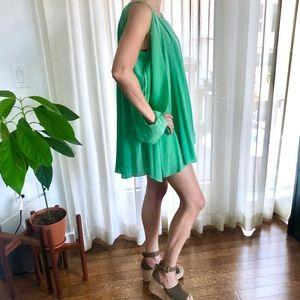 Laugh Cry Repeat 100% Silk Green Mini Dress